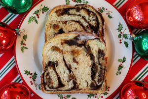 Chocolate Cinnamon Raisin Christmas Bread