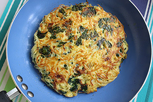Spaghetti Frittata with Spinach