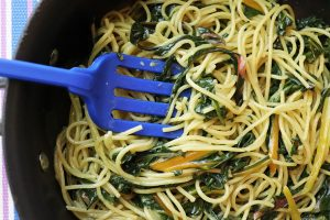 One Pan Spaghetti With Swiss Chard