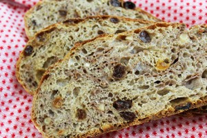 No Knead Fruit and Nut Bread