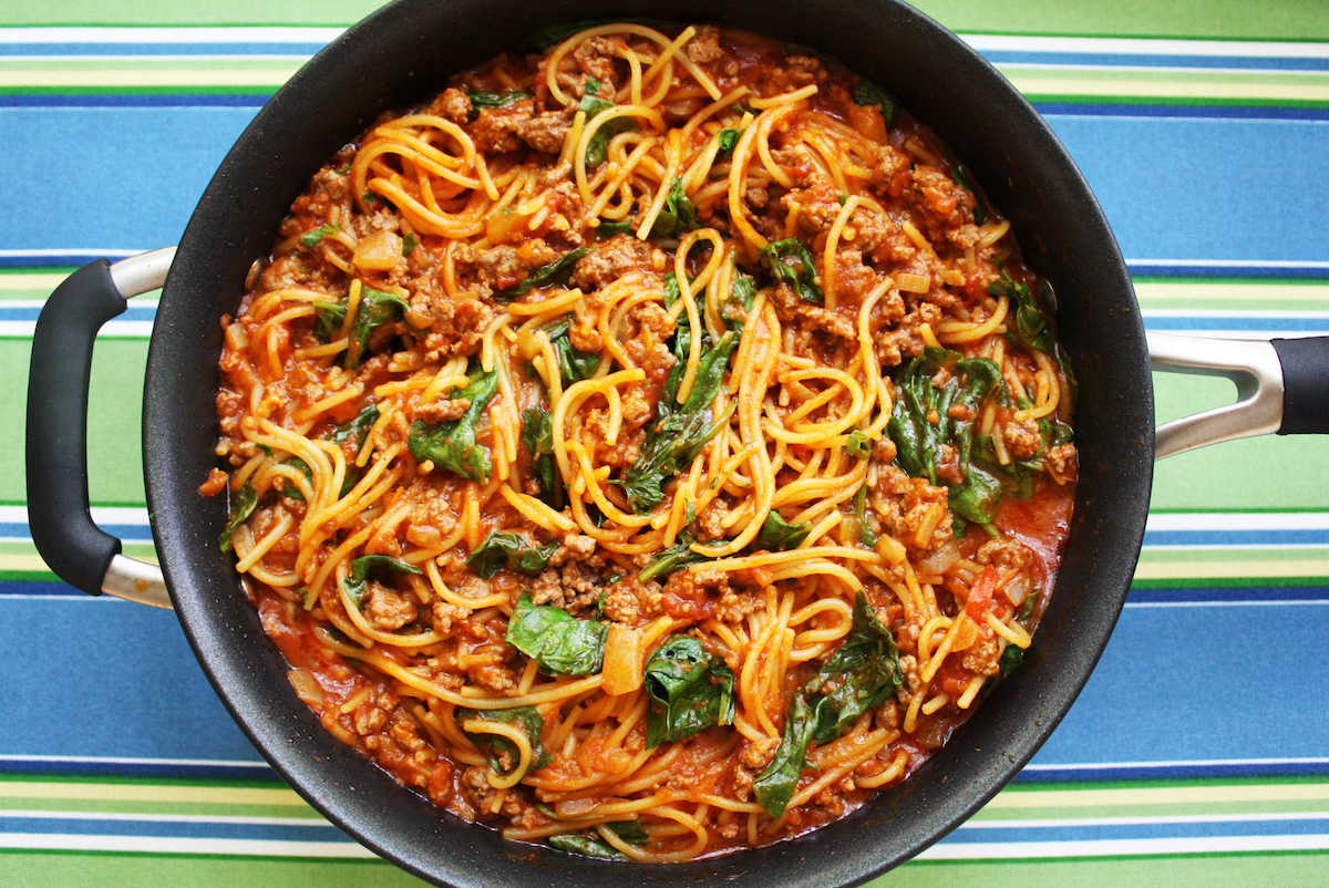 One Pan Pasta Veggie Meat Sauce